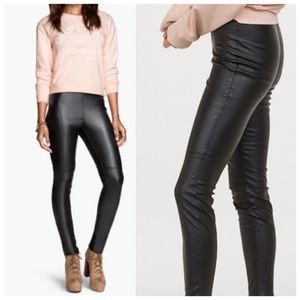 New H&M High-Waist Faux Leather Leggings NWT - 0